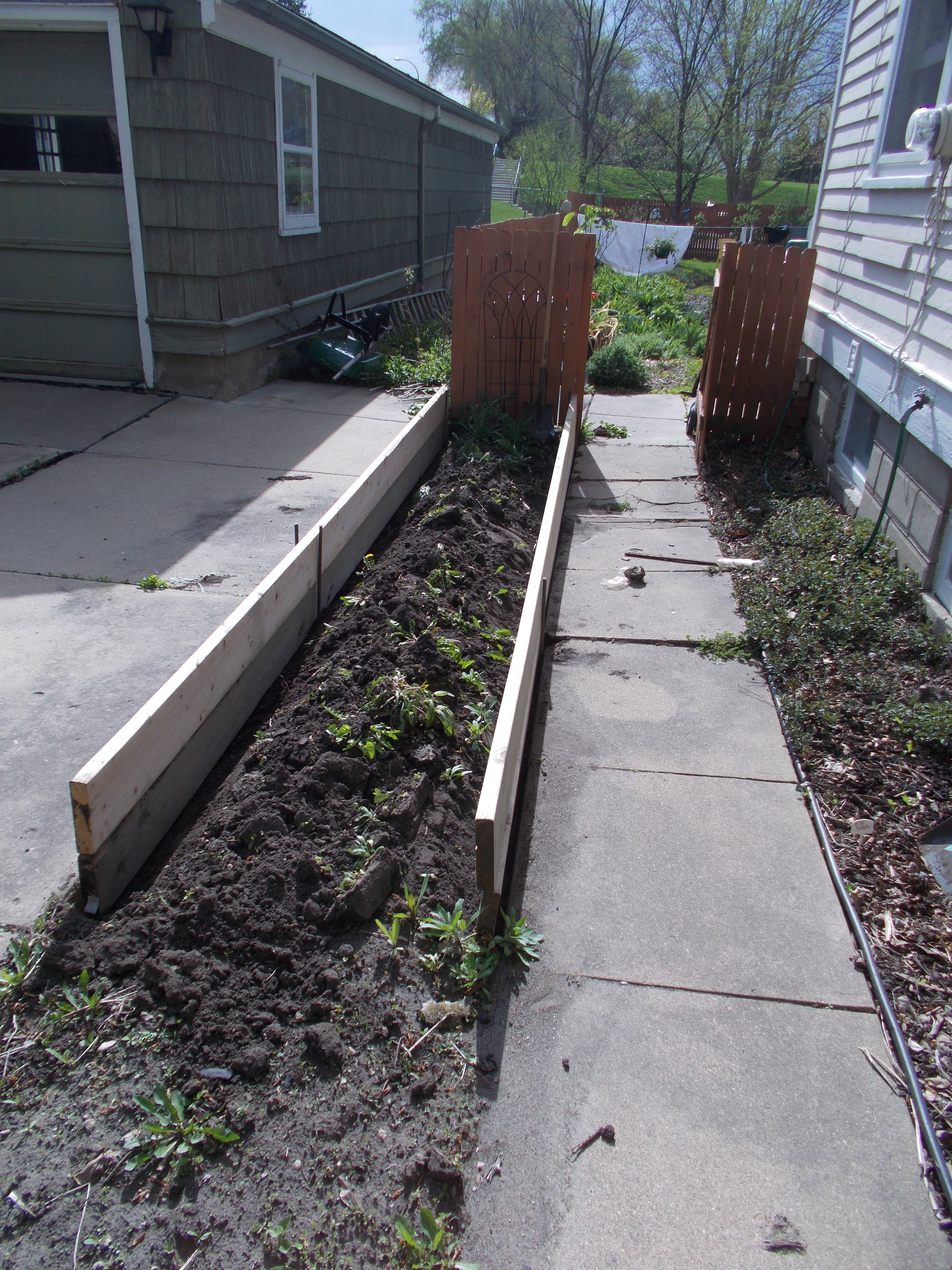 Early stages of raised-bed construction.