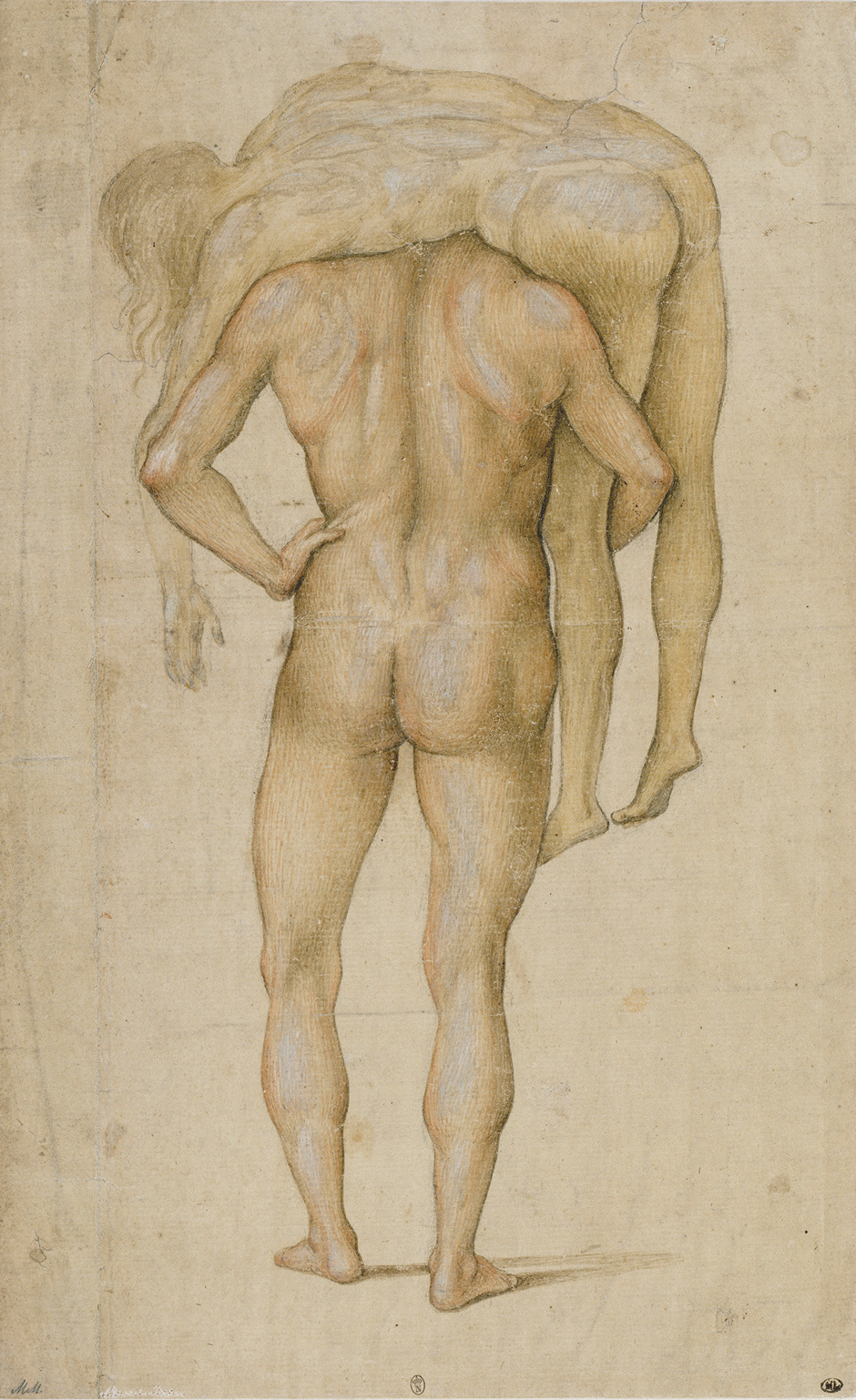 "Luca Signorelli, ""Man Carrying Corpse,"" ca. 1500."